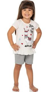 Roupa Bebê Infantil Menina Pijama Curto Meia Manga E Shorts