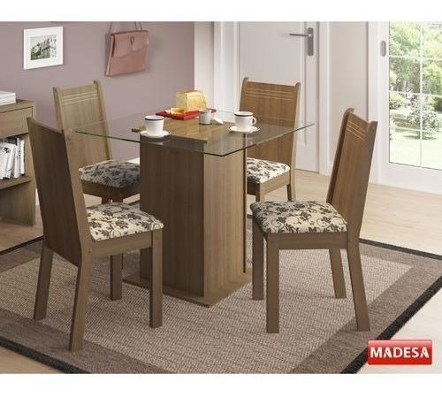 Conjunto Mesa De Jantar 5295a Lucy Madesa Com 4 Cadeiras 429