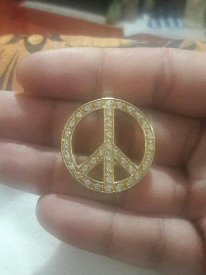 Pingente Folheado Á Ouro Símbolo Da Paz