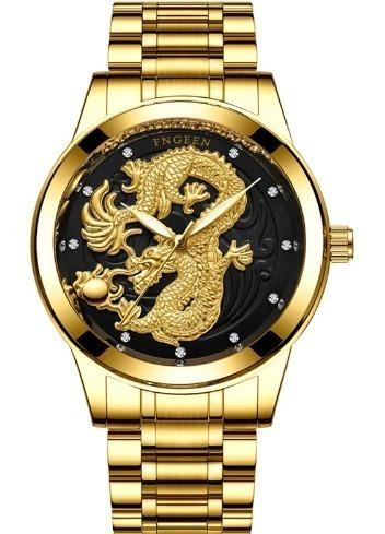 Relógio De Aço Dourado Dragão Criativo De Luxo + Frete