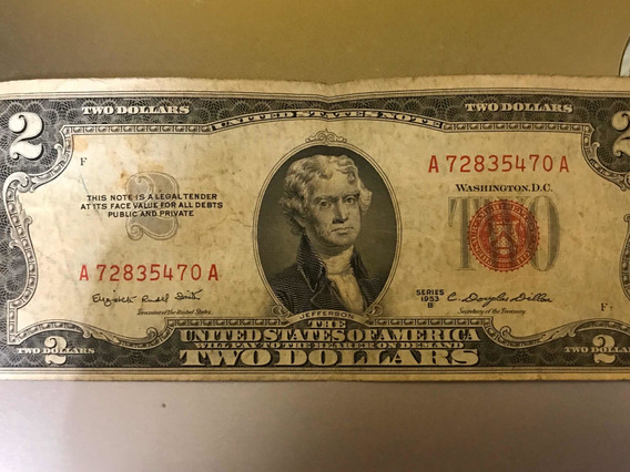 Billete Sello Rojo De 2 Dolar Americano Año 1953
