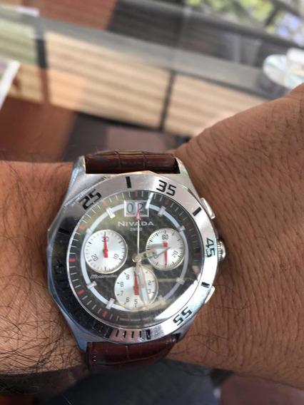 Reloj Nivada Chrono Cuarzo Fechador Piel Original 100% 45mm