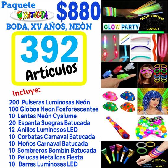 Paquete Batucada Fiesta Boda Xv Años Neon Led 390 Artículos