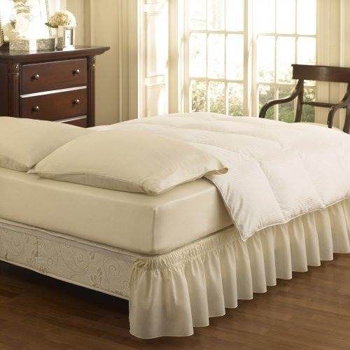 Easy Fit Falda Rizada Lisa Para Cama, Queen/king, Ivory, 1