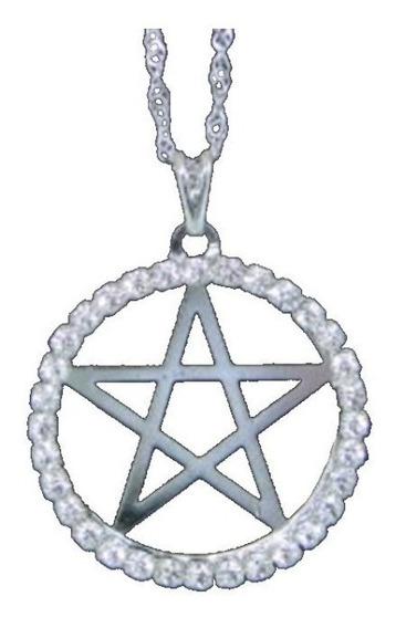Gargantilha Pentagrama C/ Strass Prateada - Sh5611