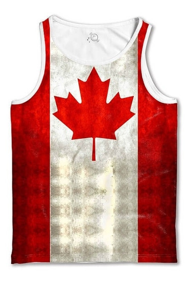 Regata Branca Bandeira Canadá Camiseta Regata Masculina