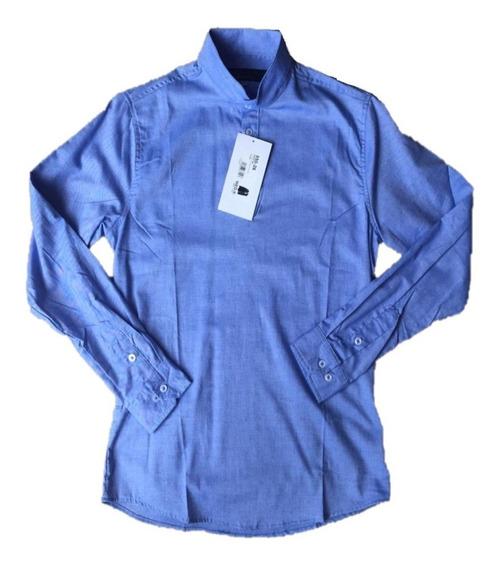 Rebajada Ultimas Camisa Caballero Cuello Mao Cklass 2 Tonos