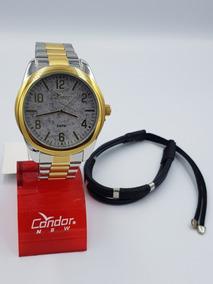 Kit Relógio Condor Unissex Aço + Pulseira Couro