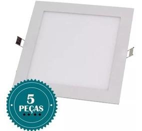 Kit 5 Painel Plafon Embutir Quadrado 25w 24w Luminaria Led