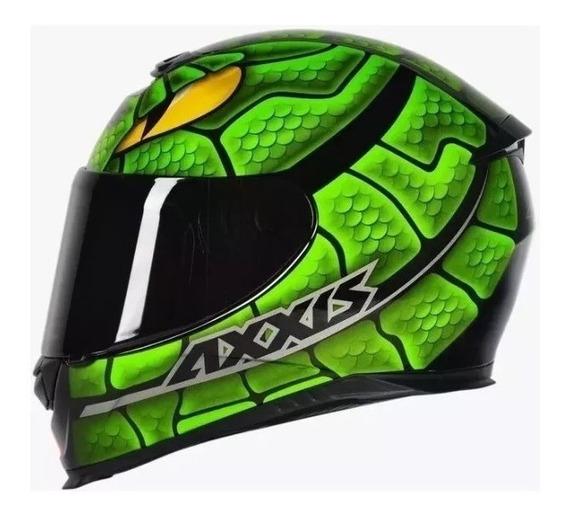 Capacete Axxis Eagle Snake Gloss Preto E Verde