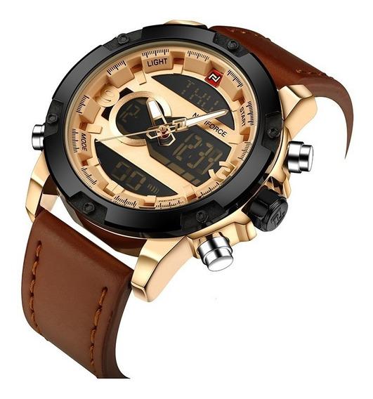 Relógio Masculino Esportivo Digital Couro Naviforce Original