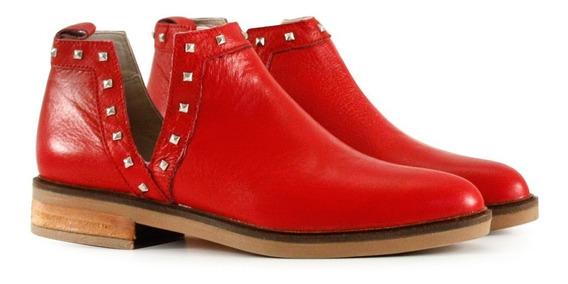 Botas Cortas Bajas De Cuero Rojo Mujer Batistella