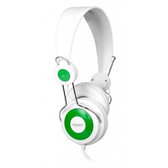 Fone De Ouvido Headphone Com Microfone, Cor Branco Verde