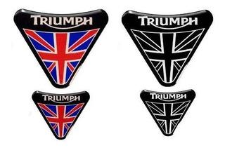 Kit Adesivos Escudo Alto Relevo Resinado Moto Triumph Escudo