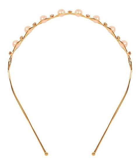 Diadema Delgada Con Perlas Y Diamantitos Dorada