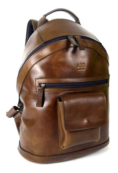Backpack Grande 100% Piel Con Bolso Frontal Ag Leather