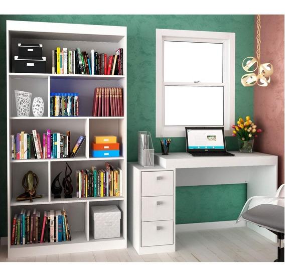 Conjunto Home Office Com Escrivaninha E Estante Para E