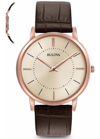 Relógio Bulova Masculino Slim Wb22436x Rosê 97a126