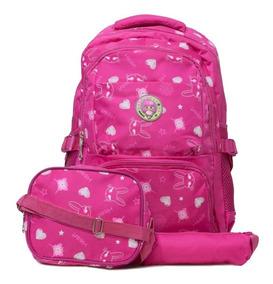 Kit Mochila Infantil Escolar Rosa Lancheira Estojo Menina