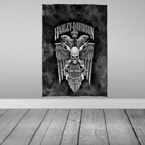 Imagem 1 de 3 de Stompy Bandeira Decorativa Decoração Harley Davidson Skull
