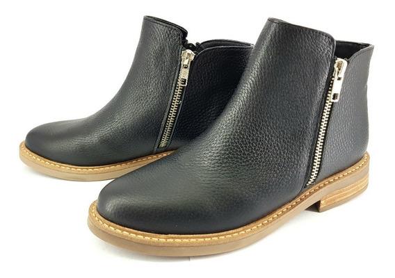 Botineta Bota Corta Base Goma Cuero Mujer Zapato 1550/mk