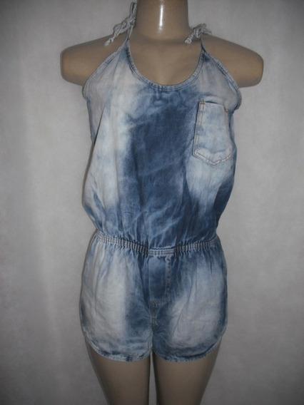 Macaquinho Jeans Malhado Tam P Algodão Usado Bom Estado