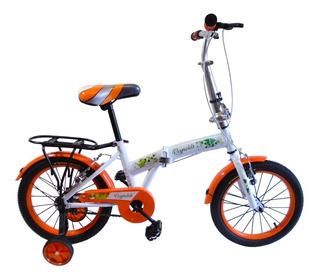 Bici Plegable Roda16 Niñas Liviana Rosa Naranja