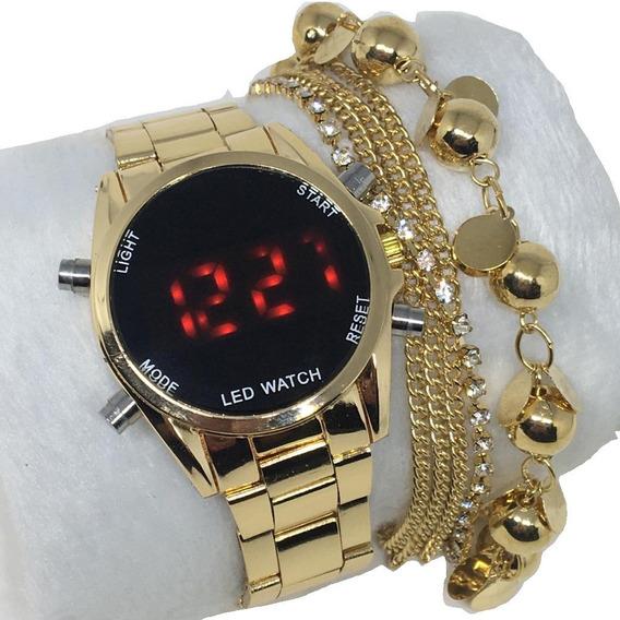 Kit Relógio Feminino Digital Lindo Social +caixa+pulseira