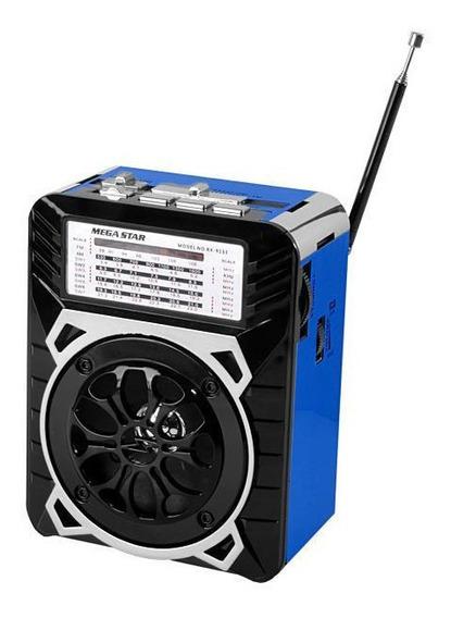 Rádio Portátil Am Fm Sw 1-7 9 Bandas Megastar Rx-9133 Azul
