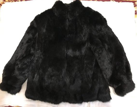 Casaco Preto Pele Legítima Coelho Polo Norte
