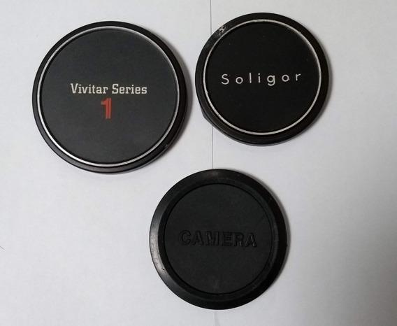 Kit Com 3 Tampas P/ Lente Camera Fotográfica- Antigas