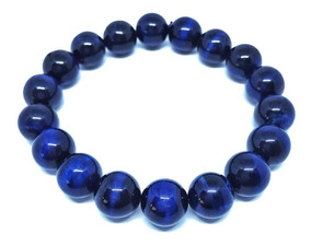Pulseira Pedra Cristal Azul Olho Tigre Tingido 10mm 119