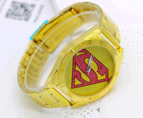 Relógio De Pulso Masculino Dourado - Super Homem Mod. Em Aço