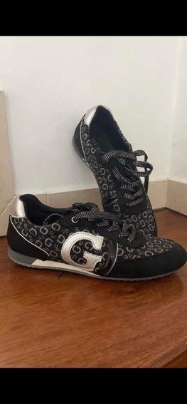 Zapatillas Guess Número 38 Negras Plateado Sin Uso