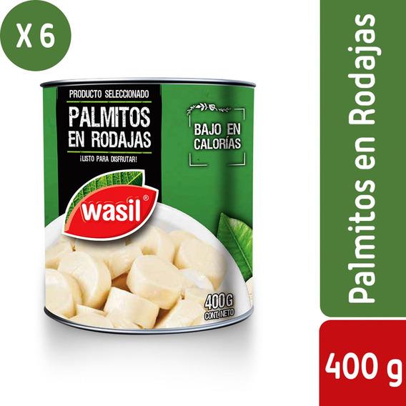 Pack 6 - Wasil Lata De Palmitos En Rodajas 400 G