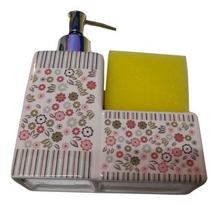Dispenser Para Detergente De Ceramica Con Porta Esponja