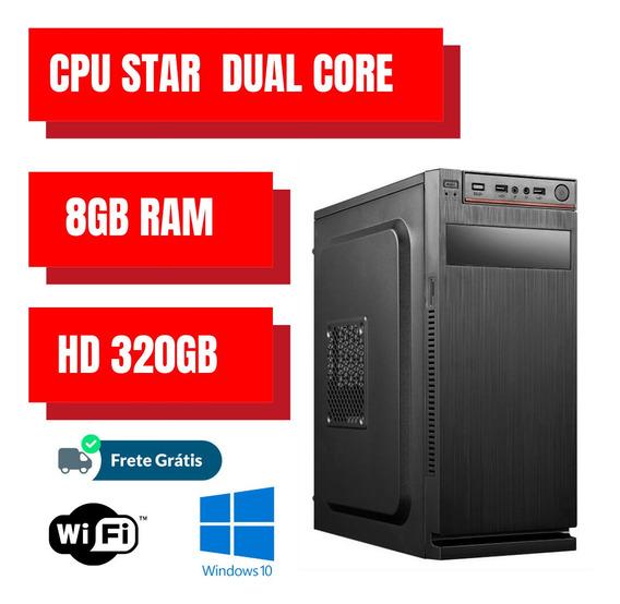 Cpu / Desktop Dual Core 320gb 8gb Ram Win10 Brinde Nova