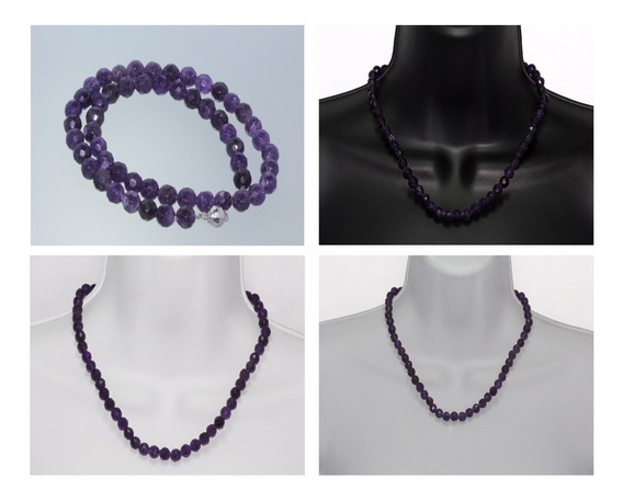 Collar Piedra Natural Dama Mujer Amatista Biselada Ccpn59
