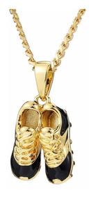Colar Chuteiras Ouro Dourado Luxo Folheado 18 C/ Garantia