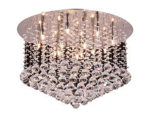 Plafon Luminaria Pendente Cromado Cristal Translucido 65cm