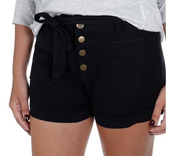 Shorts Feminino Em Sarja Treme Terra Preto