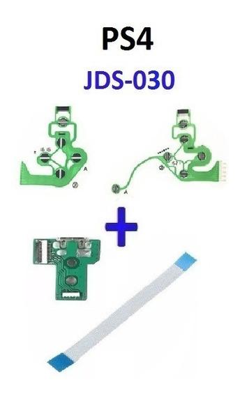 Kit Controle Ps4 Placa Usb Jds/jdm 030 + Flat + Película