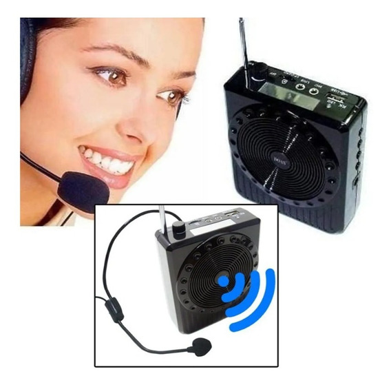 Megaphone K-150 Rádio Fm Microfone Usb Sd Amplificador Preto