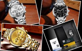 Relógio De Aço Clássico Luxo Cronógrafo Lige 9810