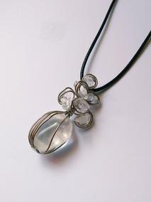 Colar Cordão Cristal Flor Boho Hippie Delicado Pedra Natural