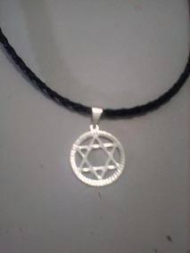Colar Couro Estrela De Davi Israel Judeu Folheado Em Prata