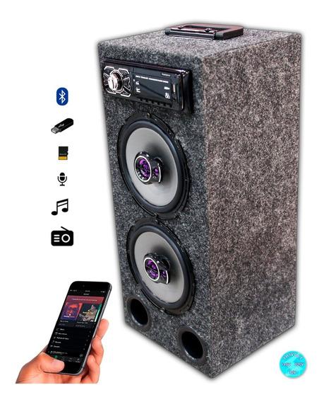 Caixa Residencial Radio Bluetooth + Par Falante 6 Pioneer