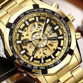 Relógio Winner 1205158 Gold Automático Esqueleto Aparente