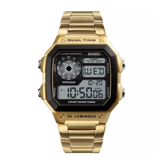 Skmei Reloj Unisex Digital Metálico Contra Agua Fecha 1335