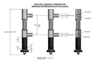 Boquilla O Picos Embotelladora Llenadora Liquido Valvula 5/8